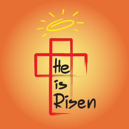 He is risen - motivational quote lettering, religious poster. Иллюстрация
