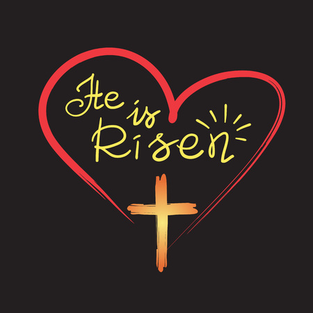He is risen - motivational quote lettering, religious poster. Vectores