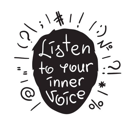 Listen to your inner voice text with silhouette design of head and different calligraphy symbols in black and white illustration Çizim