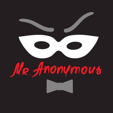 Mister Anonymous - drawing of a stranger in a mask. Vectores