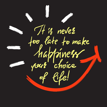 It is never too late to make your choice of life-handwritten motivational quote. Print for inspiring poster, t-shirt, bag, cups, greeting postcard, flyer, sticker, sweatshirt. Simple slogan