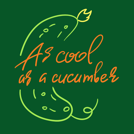 As cool as a cucumber - handwritten funny motivational quote. American slang, urban dictionary, English phraseologism, idiom. Print for inspiring poster, t-shirt, bag, cups, postcard, flyer, sticker. Çizim