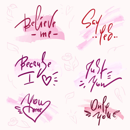 Set of simple love phrases. Hand drawn beautiful lettering on watercolor background. Valentine's day love collection. Perfect for valentine day, wedding and birthday card, stamp, print design.