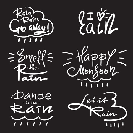 Set of simple inspire and motivational quotes about rain. Hand drawn beautiful lettering. Print for inspirational poster, t-shirt, bag, cup, card, autumn flyer, sticker. Simple vector sign Vektoros illusztráció