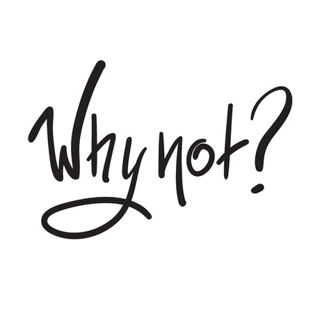 Why not? - simple inspire and motivational quote. Hand drawn beautiful lettering. Print for inspirational poster, t-shirt, bag, cups, card, flyer, sticker, badge. Cute and funny vector sign Çizim