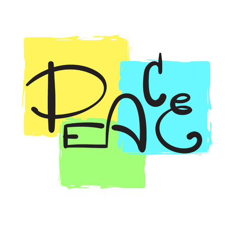 Peace - simple inspire and motivational quote. Hand drawn beautiful lettering. Print for inspirational poster, t-shirt, bag, cups, card, flyer, sticker, badge. Cute and funny vector