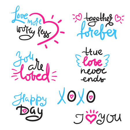 Valentines Day set with love text, heart. Template for Stickers, Greeting Scrapbooking, Congratulations, Invitations, t-shirt, cards, cups. Hand drawn beautiful lettering. Cute and funny vector sign Ilustração