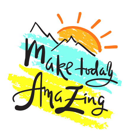 Make today amazing - simple inspire and motivational quote. Hand drawn beautiful lettering. Print for inspirational poster, t-shirt, bag, cups, card, flyer, sticker, badge. Elegant calligraphy sign Vektoros illusztráció