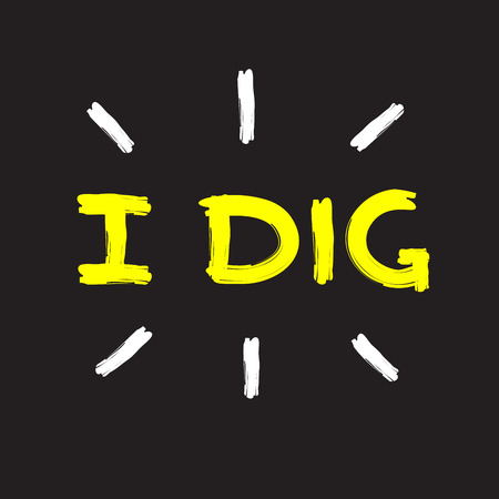 I dig - emotional handwritten fancy quote, American slang, urban dictionary. Print for poster, t-shirt, bag, logo, postcard, flyer, sticker, sweatshirt, cup, badge. Simple funny original vector