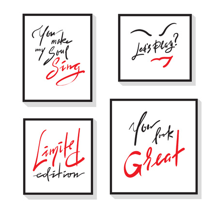 Set of inspire and motivational quotes. Hand drawn beautiful calligraphy signs. Print for inspirational poster, t-shirt, bag, cups, card, flyer, sticker, badge. Vector typography posters collection Illustration