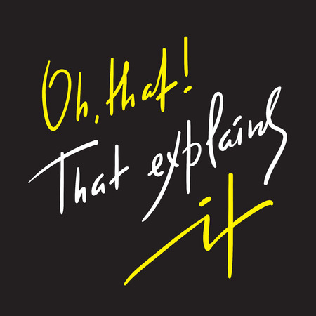 That explains it - explanatory inspire and motivational quote. Hand drawn beautiful lettering. Print for inspirational poster, t-shirt, bag, cups, card, flyer, sticker, badge. Elegant calligraphy sign