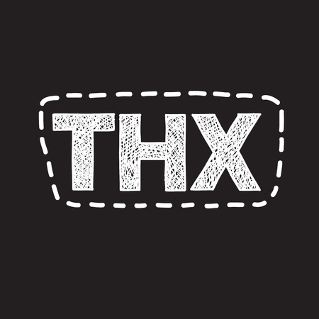THX Thank you - simple inspire and motivational quote. Hand drawn lettering. Print for inspirational poster, t-shirt, bag, cups, card, flyer, sticker, badge. Cute and funny vector sign Illustration
