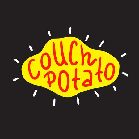 Couch Potato - semplice ispirazione e citazione motivazionale. idioma inglese, lettere. Stampa per poster, t-shirt, borse, tazze, biglietti, volantini, adesivi, badge. Segno di vettore carino e divertente