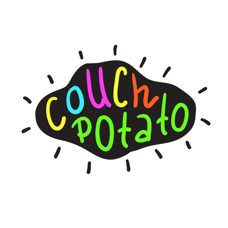 Couch Potato - simple inspire and motivational quote. English idiom, lettering. Print for inspirational poster, t-shirt, bag, cups, card, flyer, sticker, badge. Cute and funny vector sign Иллюстрация