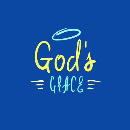 La gracia de Dios: inspiración religiosa y cita motivacional. Dibujado a mano hermosas letras. Imprimir para póster inspirador, camiseta, folletos de la iglesia, tarjeta, volante, pegatina, insignia. Signo de caligrafía elegante