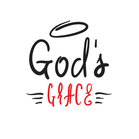 Gods grace - religious inspire and motivational quote. Hand drawn beautiful lettering. Print for inspirational poster, t-shirt, church leaflets, card, flyer, sticker, badge. Elegant calligraphy sign Stock Illustratie