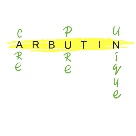 Arbutin - handwritten name of arbutin. Print for labels, advertising, price tag, brochure, booklet, tablets, cosmetics and cream packaging. Elegant calligraphy sign, trendy fashion style. Illustration