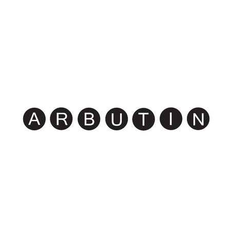 Arbutin - handwritten name of arbutin. Print for labels, advertising, price tag, brochure, booklet, tablets, cosmetics and cream packaging. Elegant calligraphy sign, trendy fashion style. 向量圖像