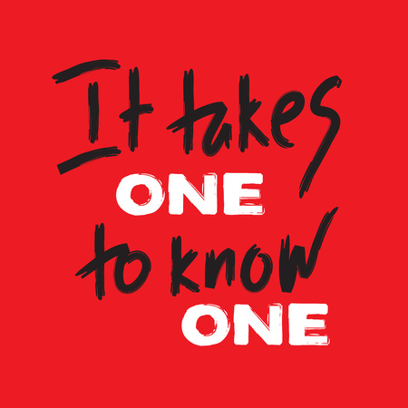 It takes one to know one - inspire and motivational quote. Hand drawn beautiful lettering. Print for inspirational poster, t-shirt, bag, cups, card, flyer, sticker, badge. English idiom, proverb