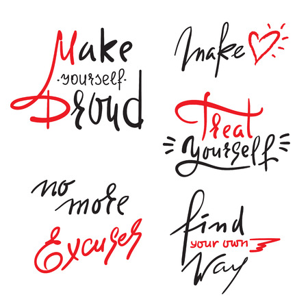 Set of inspire and motivational quotes. Hand drawn beautiful calligraphy signs. Print for inspirational poster, t-shirt, bag, cups, card, flyer, sticker, badge. Vector typography posters collection