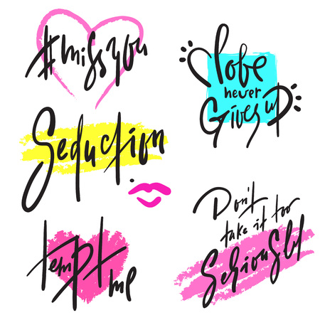 Set of simple love phrases. Hand drawn beautiful lettering. Valentines day love collection. For design, stickers, stamp, print design. Elegant vector writing Illustration