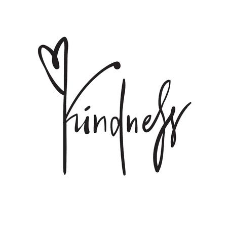 Gentilezza - semplice ispirazione e citazione motivazionale. Bella scritta disegnata a mano. Stampa per poster, t-shirt, borse, tazze, biglietti, volantini, adesivi, badge. Scrittura calligrafica elegante