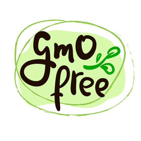 Gmo free - motivational quote. Hand drawn beautiful lettering.  Cute vector