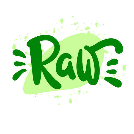 Raw - motivational quote. Hand drawn beautiful lettering.  Cute vector 矢量图像