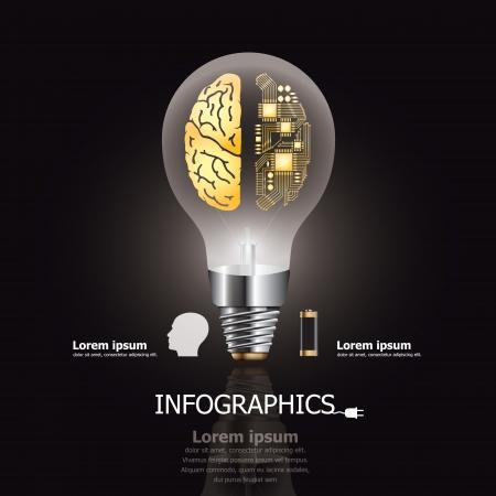 Light Bulb Brain   Electric Circuit Design Template