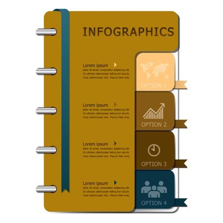 Notebook Infographics Design Template Vector