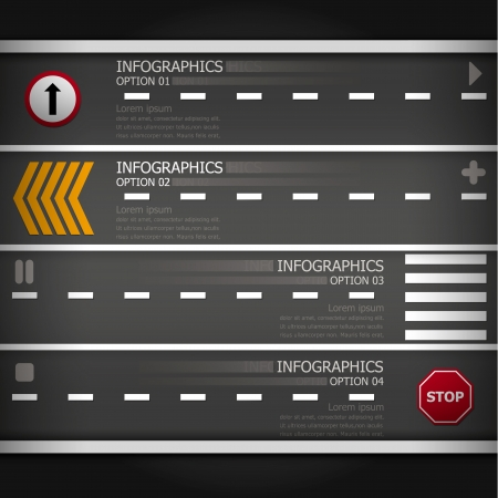 Street   Sign Infographics Design Template Vector