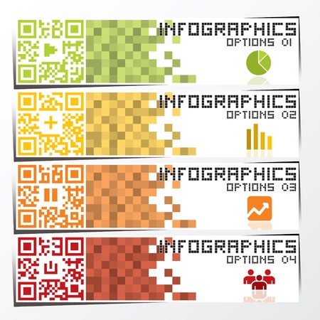 QR Code Infographics Banner   Background Design Template Vector