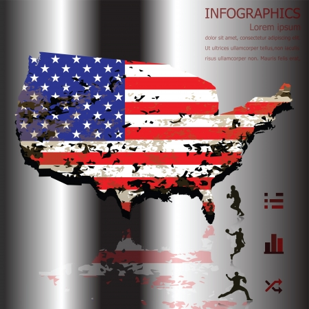 American Sport Infographics Background and Banner with Grunge Texture Vector