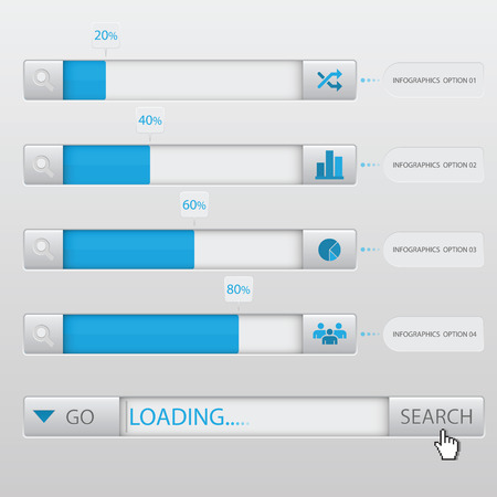 search box: Search Box Loading Infographic Design Template