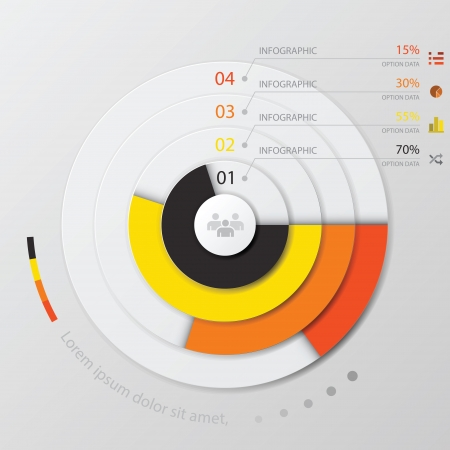 planner: Modern Curve circle Infographic Design Template Illustration