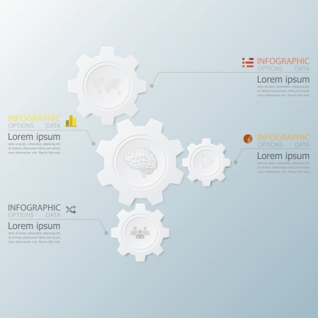 Gear Shape Infographics With Paper Graphic Style