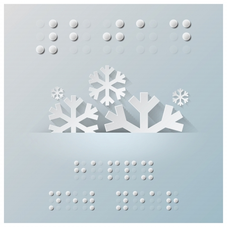 Blindenschrift-Alphabet Neujahr Hintergrund mit Papiergrafikstil Illustration