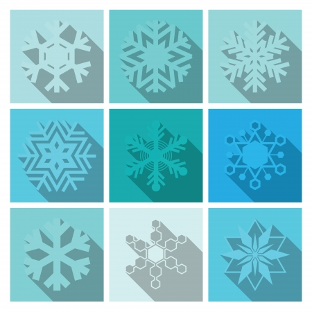Vector Snowflakes Icons Set Design  Illustration
