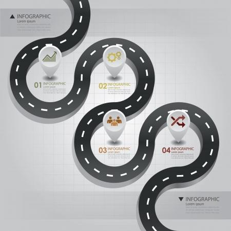 elementos: Road la calle negocios Infograf�a plantilla de dise�o