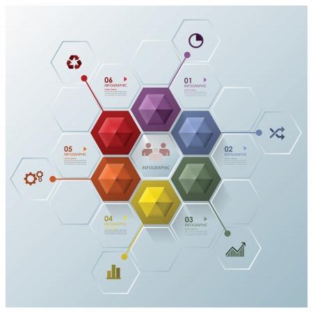 モダンな六角形のビジネスのインフォ グラフィック デザイン テンプレート  イラスト・ベクター素材