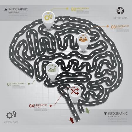 brain illustration: Road   Street Business Infographic Brain Shape Design Template