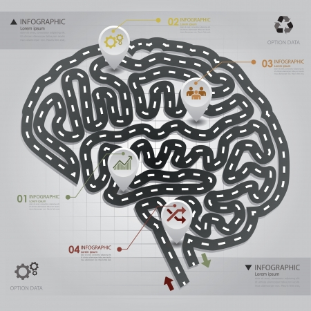 Road   Street Business Infographic Brain Shape Design Template
