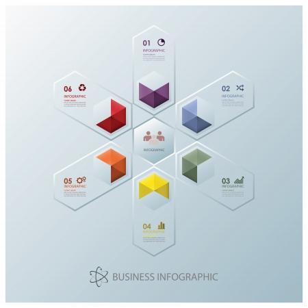モダンなフュージョン六角ビジネス インフォ グラフィック デザイン テンプレート