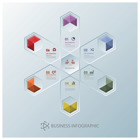 fission: Modern Fission Hexagon Business Infographic Design Template Illustration