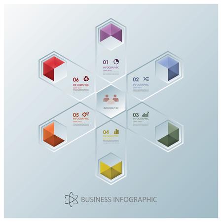 Modern Fission Hexagon Business Infographic Design Template Illustration