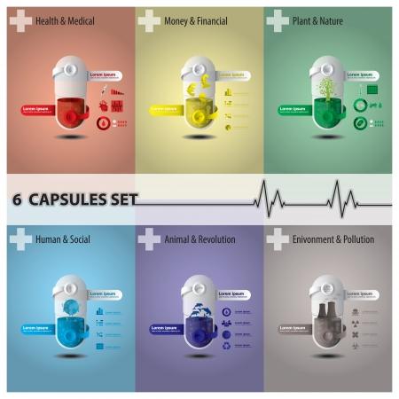 Gesundheit und Medizin Kapsel Set Illustration