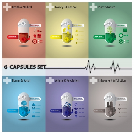 Health And Medical Capsule Set Illustration