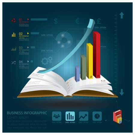 Business-Infografik mit offenen Buch Learning Style