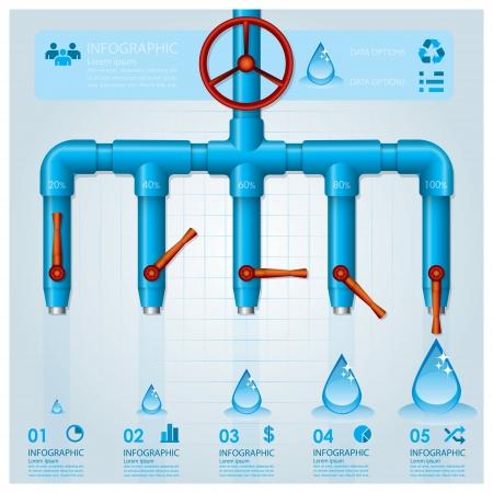 水パイプ事業インフォ グラフィック デザイン テンプレート