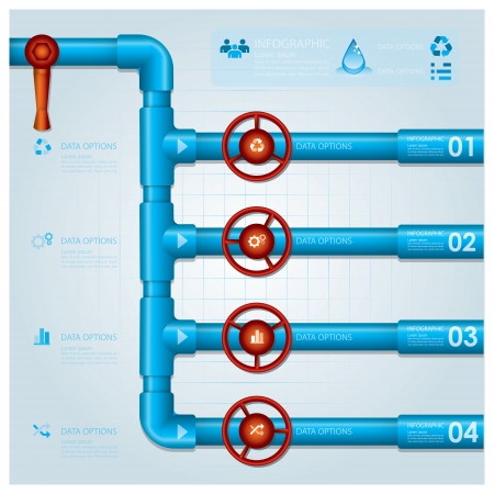 water pipe: Tubo de agua de negocios Infograf�a plantilla de dise�o Vectores